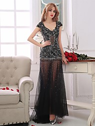 Cocktail Party / Formal Evening Dress Trumpet / Mermaid V-neck Floor-length Tulle with Beading