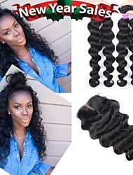 3Bundles With Closure 6A Peruvian Virgin Hair Loose Wave With Closure 100% Human Hair  With Closure Bundle
