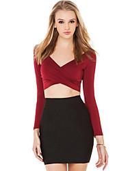Damen Solide Sexy / Einfach Arbeit T-shirt,V-Ausschnitt Sommer Langarm Rot / Schwarz Acryl / Polyester Undurchsichtig