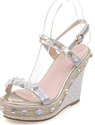 Women's Shoes Leatherette Wedge Heel Wedges Sandals Party & Evening / Dress Silver / Gold