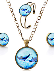 Lureme® Time Gem Series Simple Vintage Style Ocean Dolphin Pendant Necklace Stud Earrings Bangle Jewelry Sets