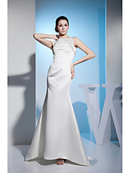 Formal Evening Dress-Ivory Trumpet/Mermaid Jewel Sweep/Brush Train Satin