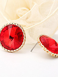 18k Gold Plated Round Zircon Security Quality Stud Earrings Jewelry for Wedding Party