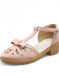 Women's Shoes Leatherette Chunky Heel Heels Flats Outdoor / Office & Career / Party & Evening Pink / White / Gray