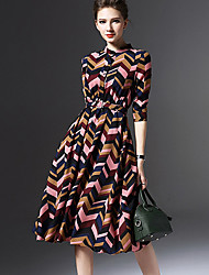 Women's Street chic Print A Line Dress,Stand Knee-length Cotton