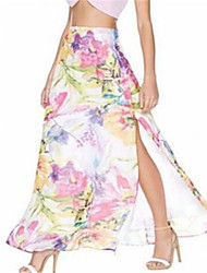 Women's Print Multi-color Skirts,Casual / Day Maxi