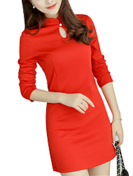 De las mujeres Línea A Vestido Vintage Un Color Sobre la rodilla Escote Chino Poliéster / Licra