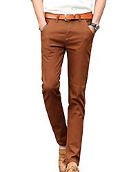 Costume Pour des hommes Couleur plaine Décontracté Coton Noir / Marron / Orange
