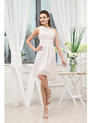 Knee-length Chiffon Bridesmaid Dress-Ivory Sheath/Column One Shoulder