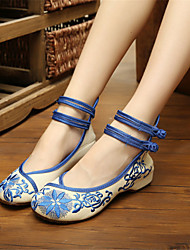 Women's Shoes Fabric Wedge Heel Wedges Slip-on Outdoor / Work & Duty / Casual Black