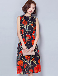 Women's Street chic Floral A Line Dress,Stand Midi Polyester