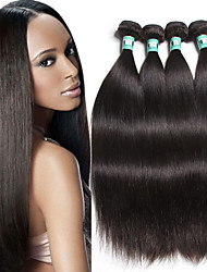 """4 unidades / lote 8 """"-30"""" brasileiras do cabelo virgem reta extensões de cabelo humano de 100% cabelo remy brasileiro tece não"""