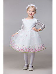 Ball Gown Knee-length Flower Girl Dress - Rayon 3/4 Length Sleeve Jewel with