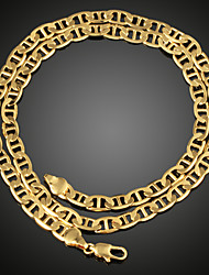 FX Men's 18K Real Gold Plated High Quality  Figaro Chunky Necklace