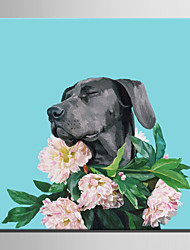 Mini Size E-HOME Oil painting Modern Wearing A Garland Of Black Dog Pure Hand Draw Frameless Decorative Painting