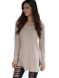 Damen Solide Retro / Einfach Lässig/Alltäglich T-shirt,Rundhalsausschnitt Alle Saisons Langarm Beige / Schwarz Acryl / Nylon