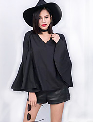 Women's Flare Sleeve Solid White / Black Loose Thin Blouse,Plus Size V Neck Long Sleeve