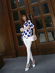 Women's Casual/Daily Simple Summer Blouse,Polka Dot Round Neck ½ Length Sleeve White Polyester Thin
