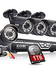 ZOSI@8CH 720P AHD Security Camera System with 4 Indoor/ Outdoor 100FT Night Vision 720P Security Cameras 1TB HDD