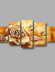 Peint à la main Abstrait / A fleurs/BotaniqueModern Cinq Panneaux Toile Peinture à l'huile Hang-peint For Décoration d'intérieur
