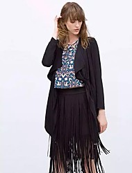Women's Solid Black Trench Coat,Simple Long Sleeve Polyester
