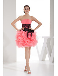Cocktail Party Dress-Watermelon A-line Strapless Short/Mini Lace / Organza