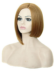 Capless Blonde Color Medium Length High Quality Natural Straight Hair Synthetic Wig with Side Bang
