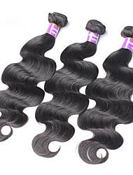 """3pcs / lot 10 """"-30"""" extensiones virginales del pelo humano de Malasia / de color de la armadura de la onda natural de cuerpo negro manojos"""