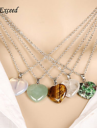 D Exceed New Trendy Colorful Natural Stone Pendant Necklace Women Girls Lady Statement Necklace Heart Shape Pendant