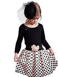Vestido Chica de-Otoño / Primavera-Algodón-Negro