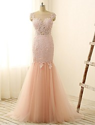 Formal Evening Dress-Blushing Pink Trumpet/Mermaid Scoop Floor-length Lace / Tulle