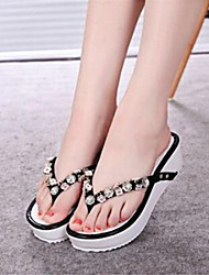 Women's Shoes Synthetic Platform Flip Flops Flip-Flops Outdoor / Casual Black / White