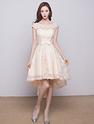 Asymmetrical Lace Bridesmaid Dress - Ball Gown Jewel with Bow(s)