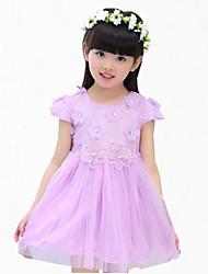 Girl's Pink / Purple / White Dress,Lace Cotton Summer