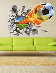 3D Football Soccer Fire Playground Broken Wall Hole Window View Home Decals Wall Sticker For Boys Room