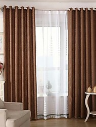 Two Panels European Solid Living Room Polyester Blackout Curtains Drapes