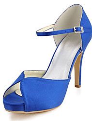 Women's Spring / Summer Heels / Peep Toe Stretch Satin Wedding / Dress / Party & Evening Stiletto Heel Crystal Royal Blue