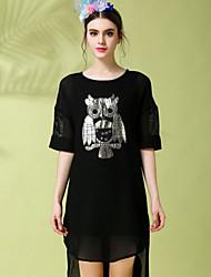 Robe Aux femmes Grandes Tailles / Lace Vintage,Couleur Pleine Col Arrondi Mi-long Polyester