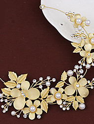 Lady's Baroque Style Gold Leaf Olive Butterfly Headband  Forehead Hair Jewelry for Wedding Party (Length:26cm)