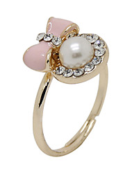 The New Fashionable Small Fresh Oil Ribbon Pearl Opening Ring