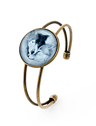 Lureme® Simple Jewelry Time Gem Series Romantic Lovers Wolf Charm Cuff Bangle Bracelet for Women and Girl