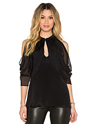 Women's Solid Black Blouse,Round Neck Short Sleeve