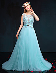 Formal Evening Dress A-line Jewel Court Train Taffeta / Tulle with Beading / Crystal Detailing
