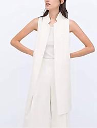 De las mujeres Camisa-Bolsillo Escote Chino-Algodón / Poliéster-Sin Mangas