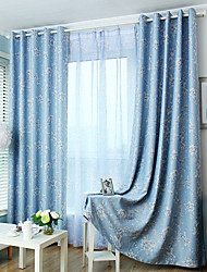 Two Panels Modern Floarl Living Room Polyester Blackout Curtains Drapes