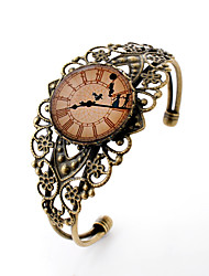 Lureme® Vintage Jewelry Time Gem Series Clock with Dancer Antique Bronze Hollow Flower Open Bangle Bracelet for Women