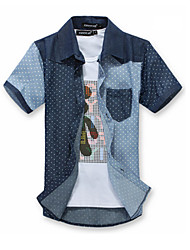 High Quality Men's Print Short Sleeve Couples Polka dots Shirt Patchwork Top,Cotton / Polyester Casual / Sport