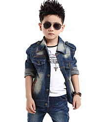 Boy's Cotton Spring/Fall Fashion Zipper Decoration Double Pocket Cowboy Coat