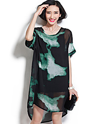 Women's Simple Print Loose Dress,Round Neck Knee-length Others