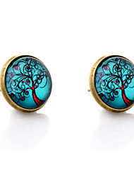 Lureme® Vintage Jewelry Time Gem Series Antique Bronze Blue Sky with Life Tree Stud Earrings for Women and Girls